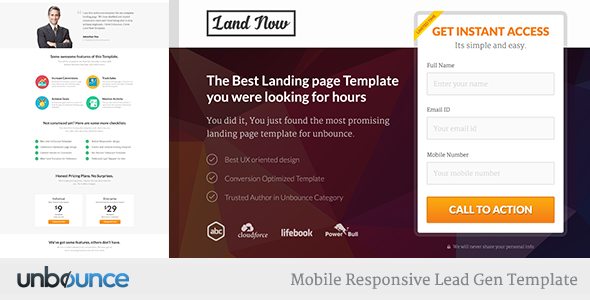 Unbounce Responsive Landing Page Template - Agents