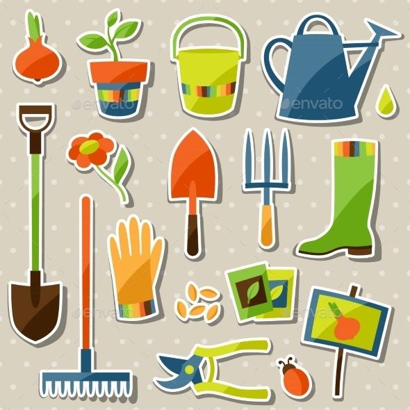 GraphicRiver Garden Sticker Set 10810068