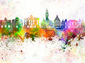 Lille skyline in watercolor background - PhotoDune Item for Sale