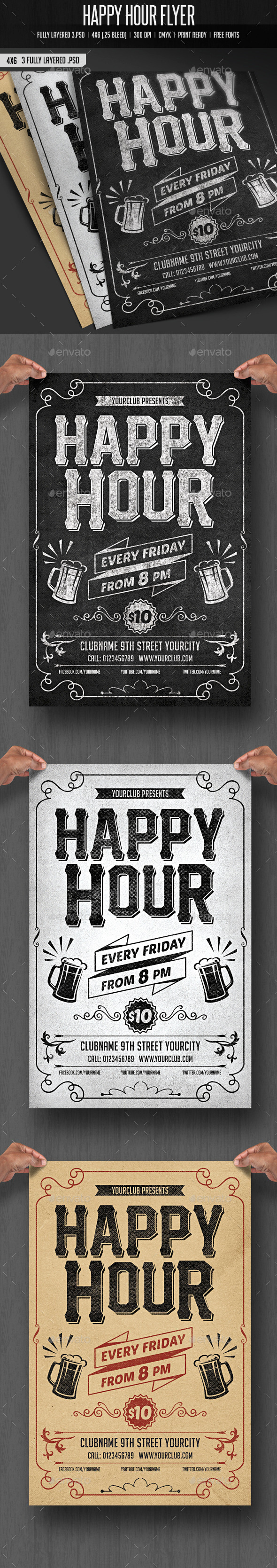 GraphicRiver Happy Hour Flyer 10810429