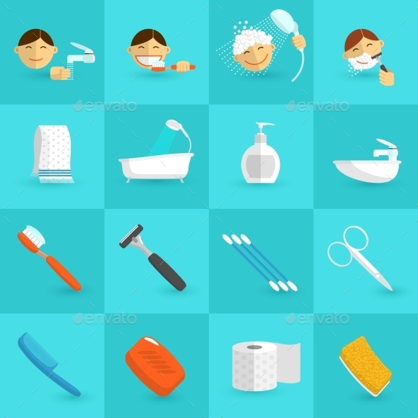 GraphicRiver Hygiene Icons Flat 10810459