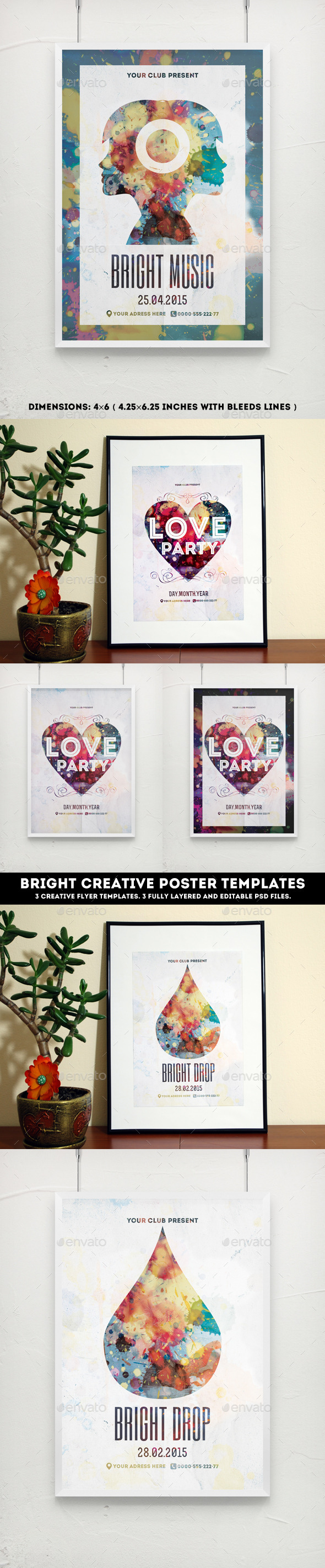 GraphicRiver Bright Creative Poster Templates 10810588