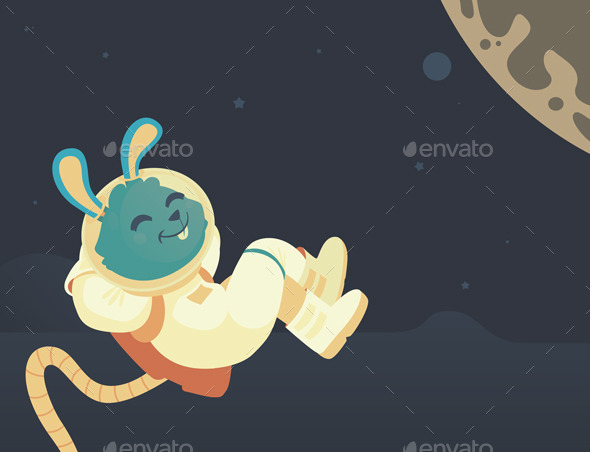 GraphicRiver Bunny Relaxing in Space 10810972