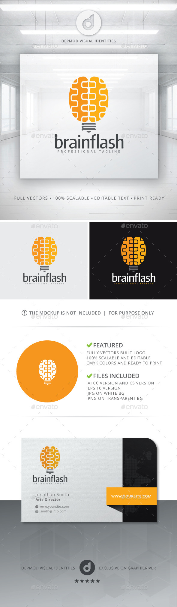 GraphicRiver Brain Flash Logo 10809564