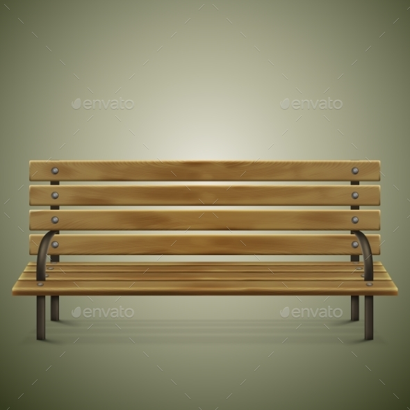 GraphicRiver Wooden Detailed Bench On Green 10811488