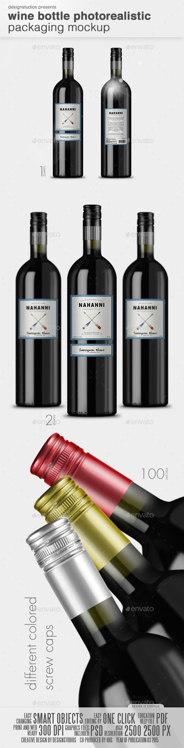 GraphicRiver Wine Bottle Photorealistic Packaging Mock-Up 10811692