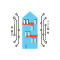 Digital smart house flat line icon concept - PhotoDune Item for Sale