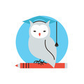 Wisdom owl flat line icon concept - PhotoDune Item for Sale