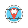 Global location flat line icon concept - PhotoDune Item for Sale