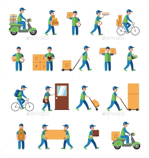 GraphicRiver Courier Delivery Postman People Flat Style Icon 10812066