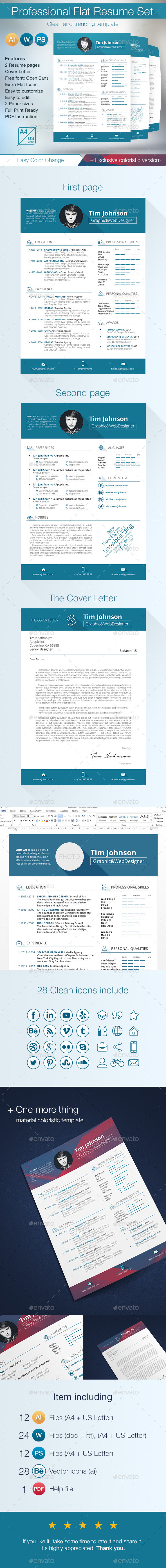 Professional Flat Resume Set