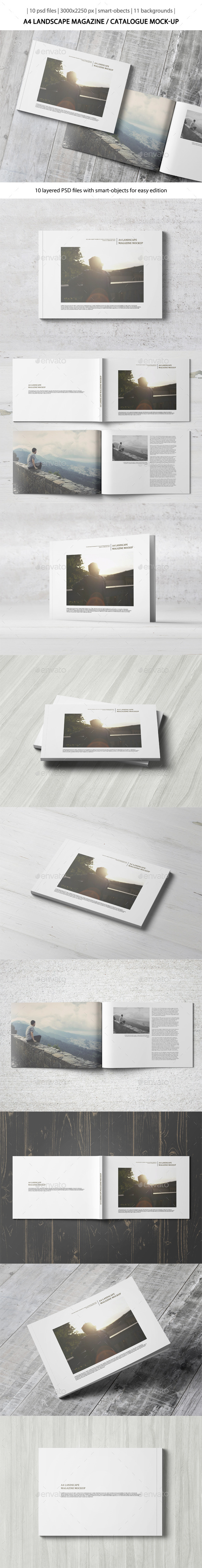 GraphicRiver A4 Landscape Magazine Catalogue Mock-Up 10813084