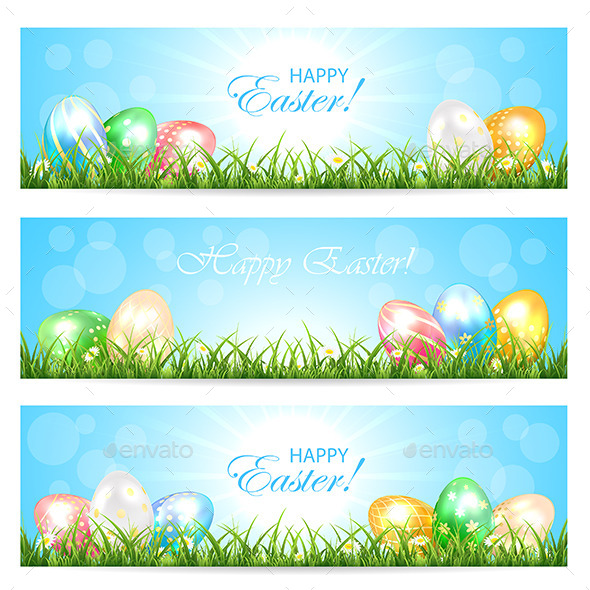 GraphicRiver Easter Cards with Colorful Eggs 10813550