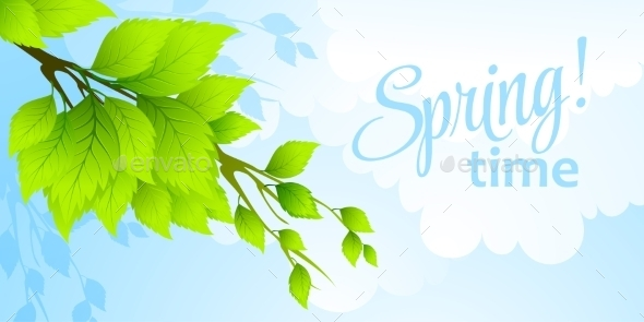 GraphicRiver Spring Fresh Green Leaves 10813555