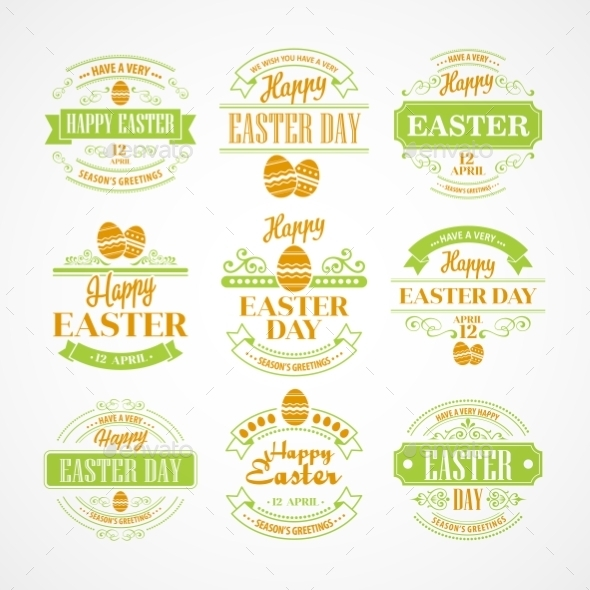 GraphicRiver Easter Holiday Typography Set 10813618