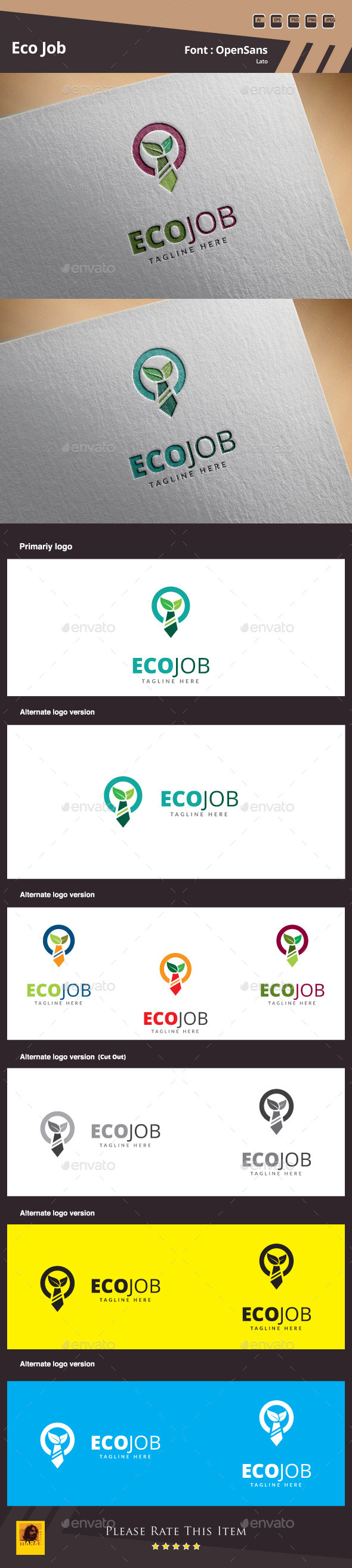 GraphicRiver Eco Job Logo Template 10813628