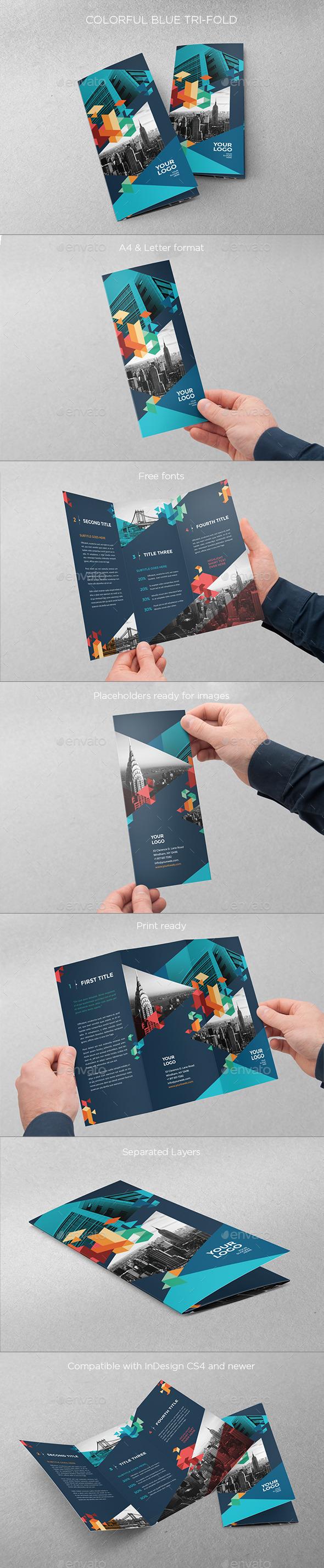 GraphicRiver Colorful Blue Trifold 10814349