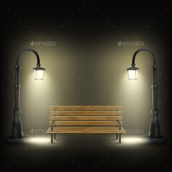 GraphicRiver Bench Illuminated by Street Lamps 10814362