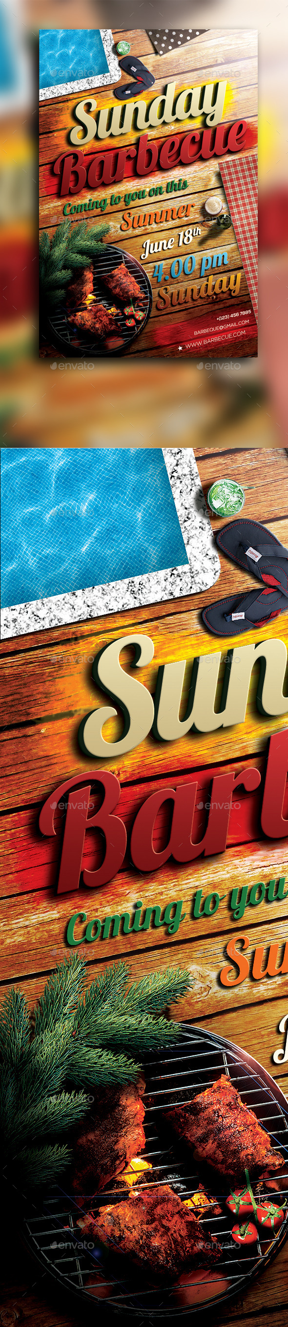 GraphicRiver Sunday Barbecue Flyer 10814909