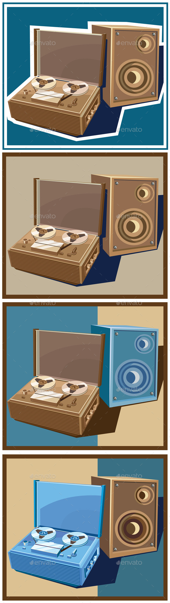 GraphicRiver Old Reel Tape Recorder Set 10815088