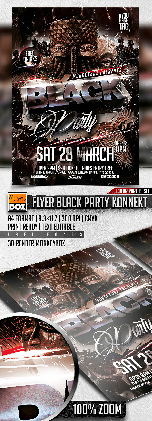 GraphicRiver Flyer Black Party Konnekt 10815483