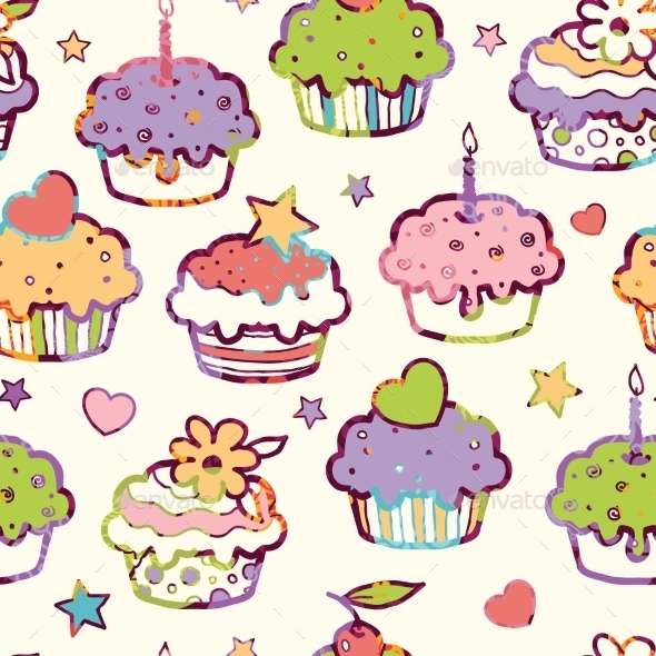 GraphicRiver Birthday Muffins Seamless Pattern Background 10815556
