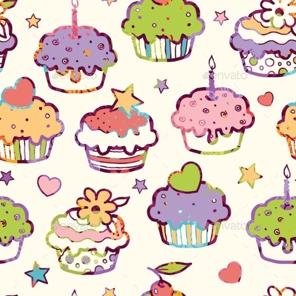 GraphicRiver Birthday Muffins Seamless Pattern Background 10815556