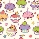Birthday Muffins Seamless Pattern Background - GraphicRiver Item for Sale