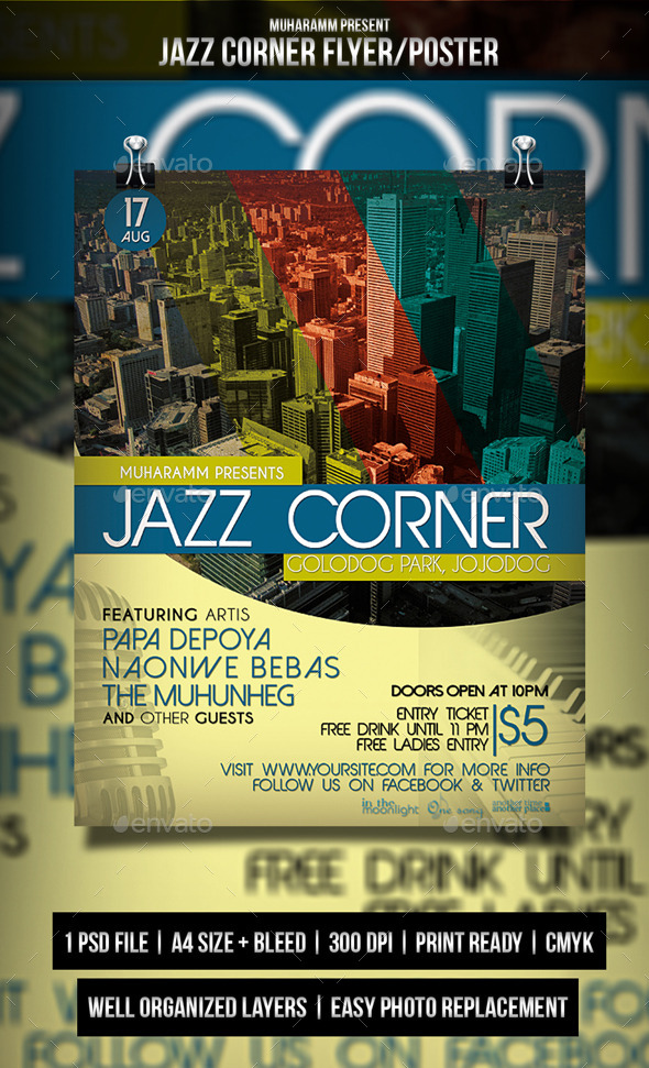 GraphicRiver Jazz Corner Flyer Poster 10742614