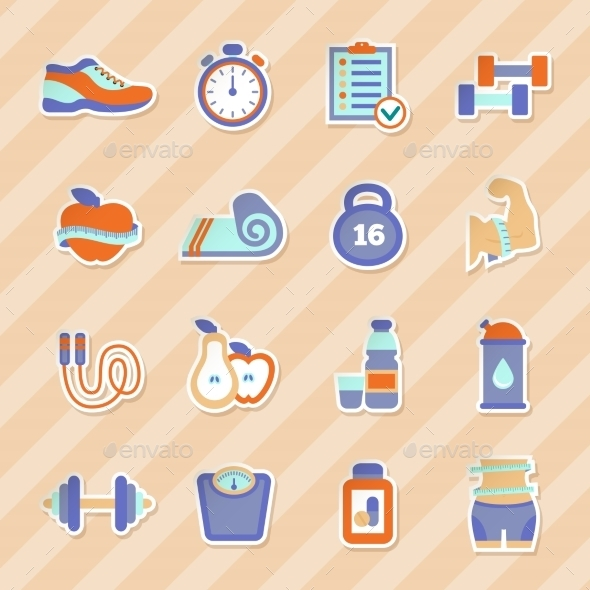 GraphicRiver Fitness Stickers 10815733