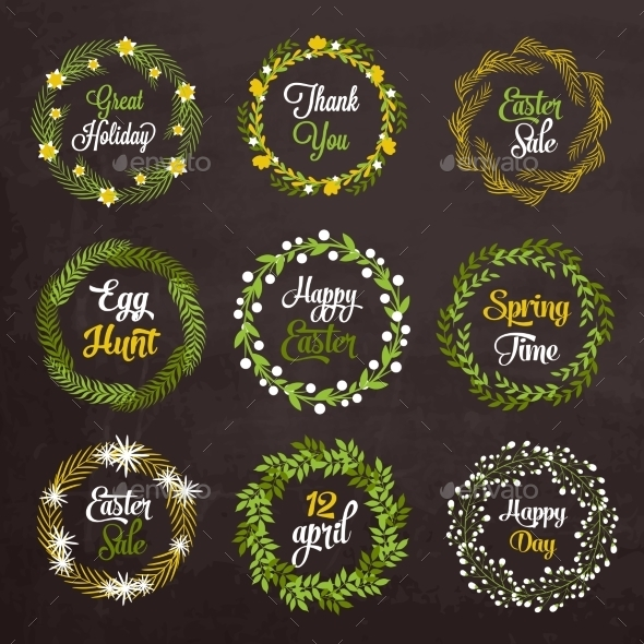 GraphicRiver Easter Wreaths 10815788