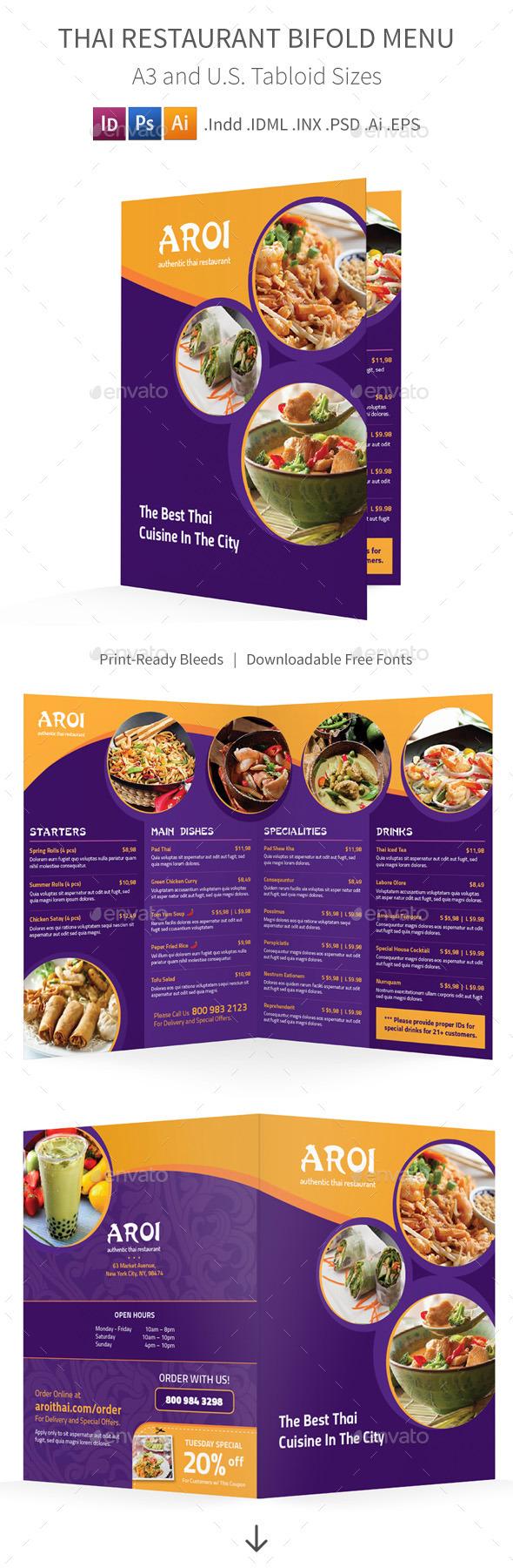 GraphicRiver Thai Restaurant Bifold Halffold Menu 10815851