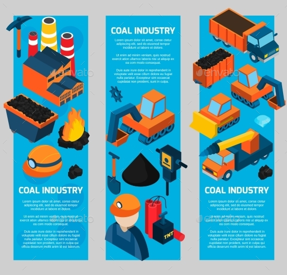 GraphicRiver Coal Industry Isometric Banners 10815863