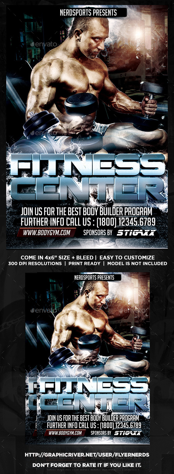 GraphicRiver Fitness Center Sports Flyer 10816110