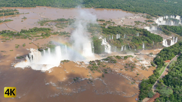 Aerial Waterfalls Iguazu Brazil Argentina