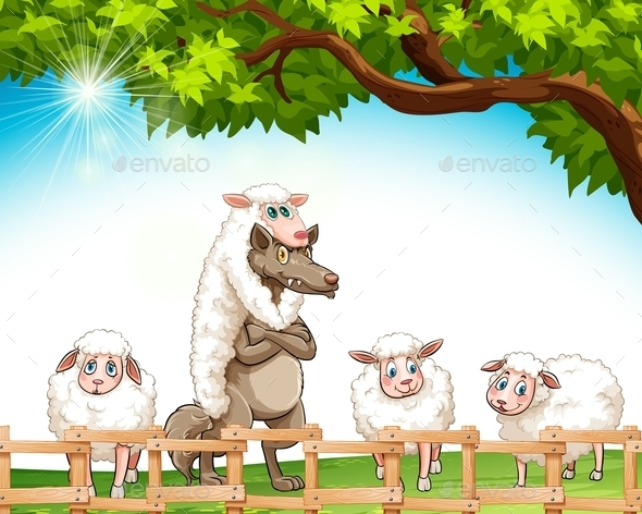 GraphicRiver Sheep and a Wolf 10816290