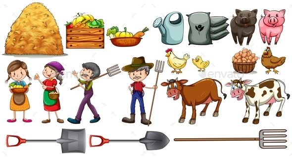 GraphicRiver Farmer Tools and Animals 10816594