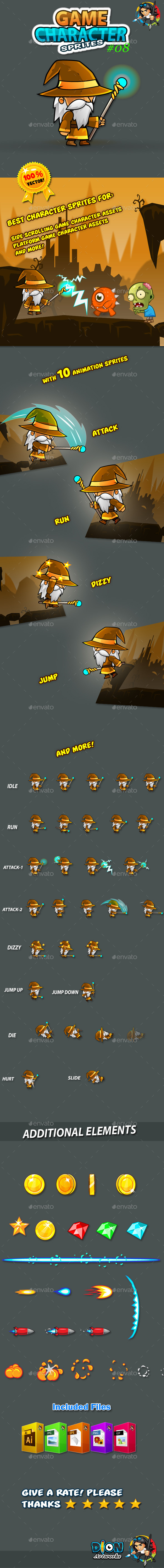 GraphicRiver Wizard Game Character Sprites 08 10816872