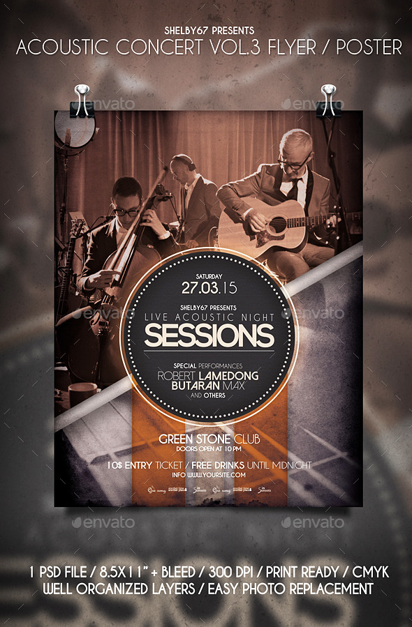 GraphicRiver Acoustic Concert Flyer Poster Vol.3 10816925