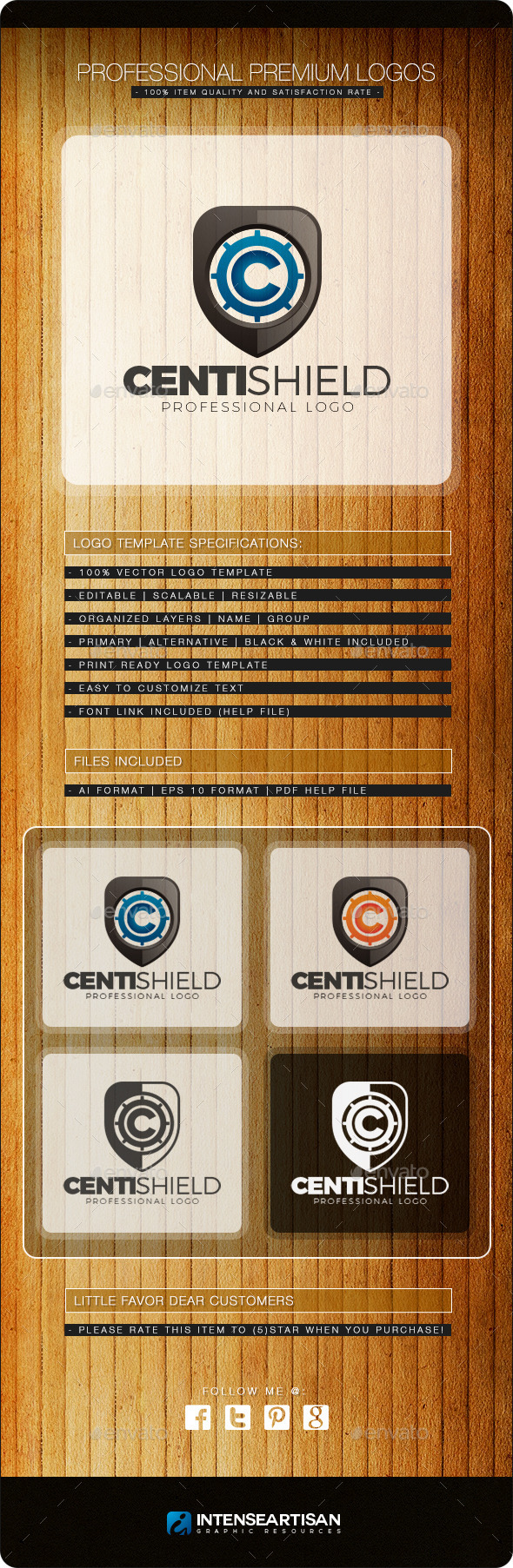 GraphicRiver Centi Shield Logo Template 10817967