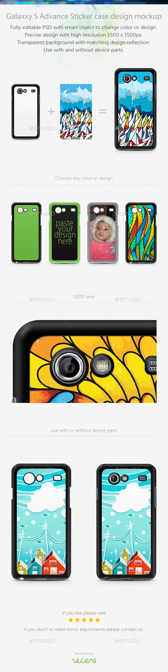 GraphicRiver Galaxxy S Advance Sticker Case Design Mockup 10817992