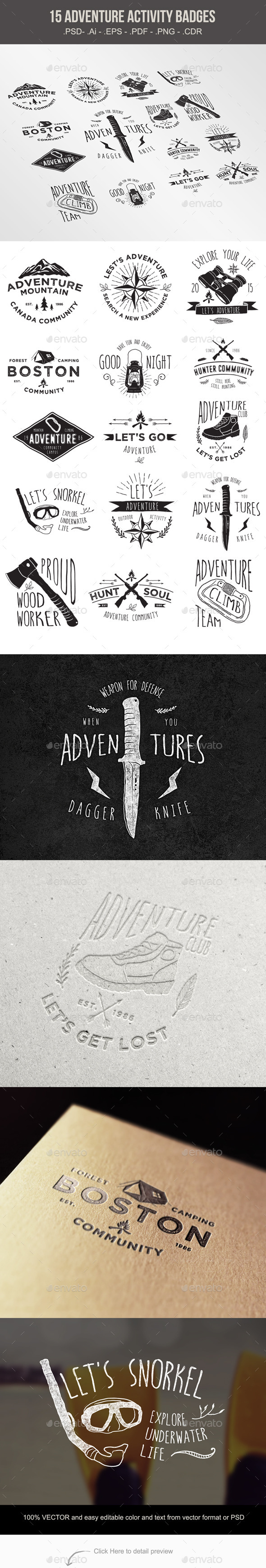 GraphicRiver 15 Adventure Activity Badges 10818185