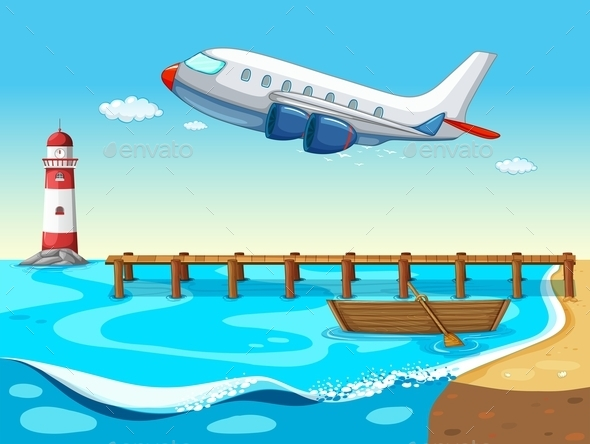 GraphicRiver Plane and Beach 10818306