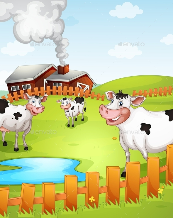GraphicRiver Cows on a Farm 10818319