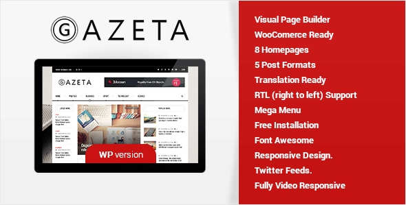 Gazeta - A Magazine & News Wordpress Theme