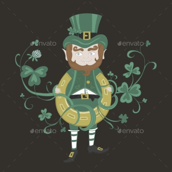 GraphicRiver Saint Patrick is Holding a Horseshoe 10818334