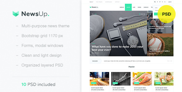 ThemeForest NewsUp Multipurpose News PSD Template 10818365