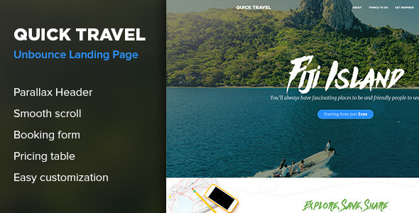 ThemeForest QuickTravel Unbounce Landing Page 10818641