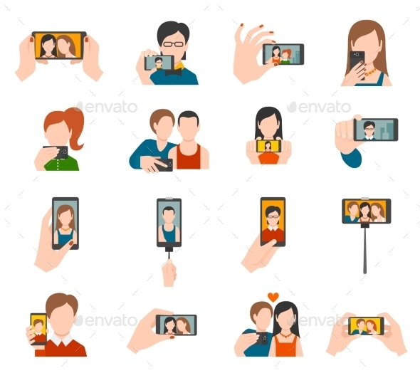 GraphicRiver Selfie Icons Flat 10818645