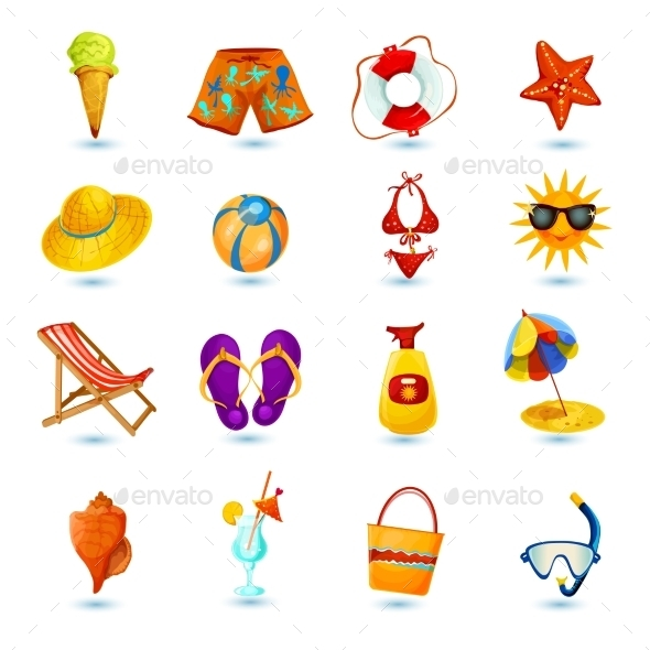 GraphicRiver Summer Holidays Icon Set 10818752
